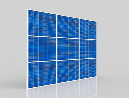 3d rendering. perspective view of  A slim blue solar cell panel plate wall with   on gray background.