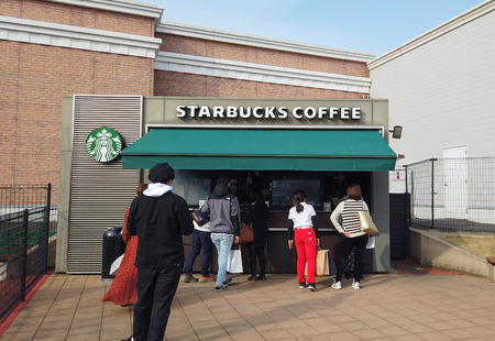 2019 March 25. Tokyo Japan. People in the row to buy coffee from starbucks shop at sano tochigi outlet mall.