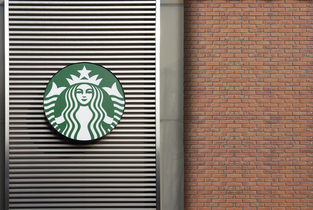 2019 March 25. Tokyo Japan. A starbucks coffee shop logo wall at sano tochigi outlet mall.