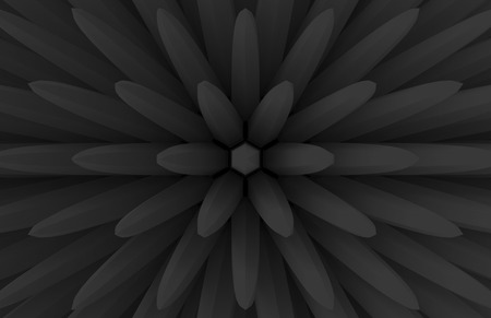 3d rendering. modern dark extrude geometry bar in blooming flower shape pattern wall background. Stok Fotoğraf