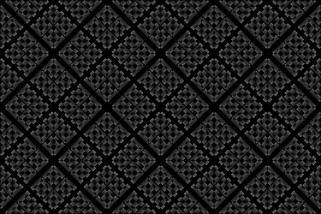 3d rendering. seamless black diagonal square grid pattern art design wall background.