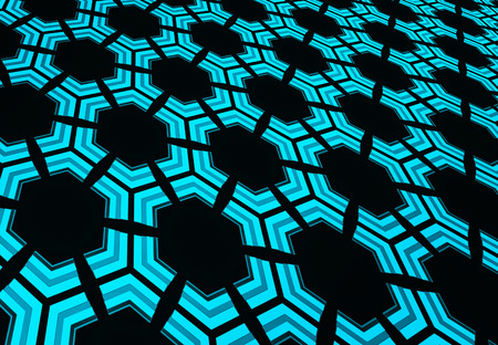 3d rendering. perspective view of blue hexagon or hive honeycomb design pattern wall background. Stok Fotoğraf