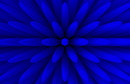 3d rendering. abstract blue extrude geometry bar in blooming flower shape pattern wall design background. Stok Fotoğraf