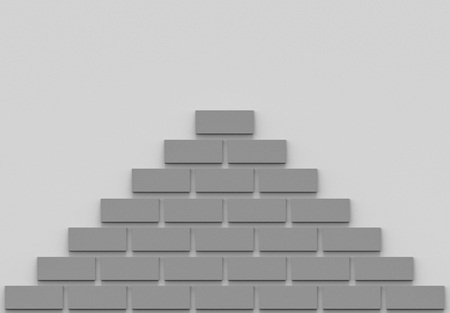 3d rendering. modern dark gray brick in pyramid shape decor on wall background.