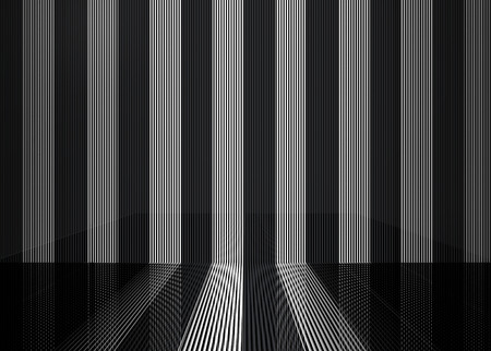 3d rendering. modern white and black parallel vertical bar pattern wall floor backgorund. Stok Fotoğraf
