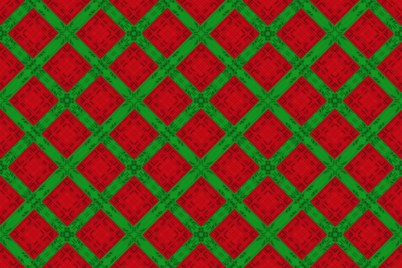 3d rendering. seamless christmas green and red color square grid pattern design wall background.