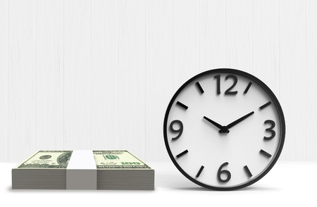 3d rendering. A victory clock and US 100 dollar stacks on white background. business time is money or comparison concept. Stockfoto - 124931881