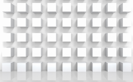 3d rendering. abstract stack of modern luxury white cube boxes wall design background. Stockfoto