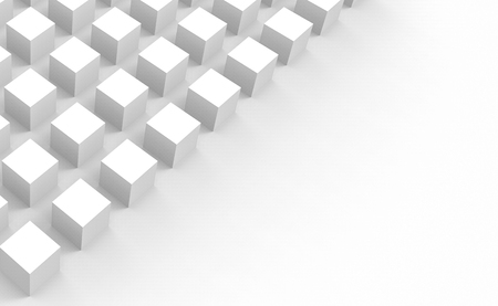 3d rendering. White square cube boxes stack on gray copy space background.