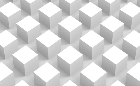 3d rendering. perspective view of modern abstract white square cube box bar stack wall design background. Stockfoto