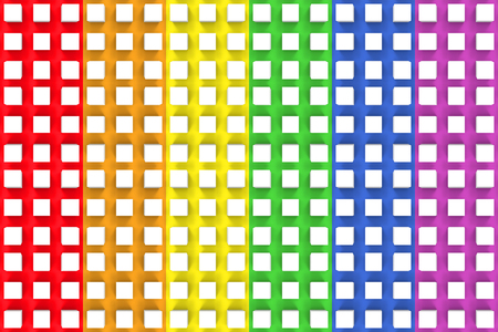 3d rendering. small white cube boxes on LGBT rainbow color design wall background.