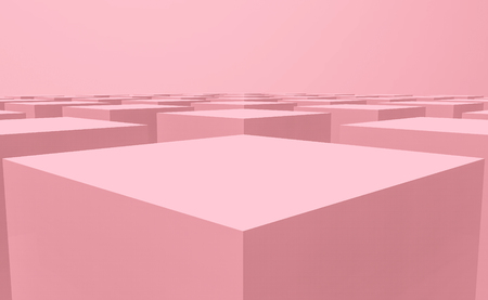 3d rendering. Sweet pastel pink color cube box stack on floor design background. Stockfoto - 124931917