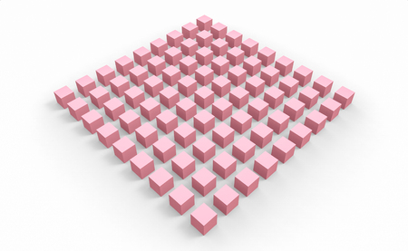 3d rendering. pink cube boxes in square grid group shape design on white floor background. Stockfoto - 124931955