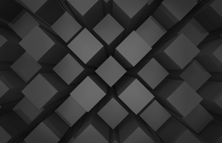 3d rendering. modern abstract random black square cube box bar stack wall design art  background. Stockfoto - 124931959