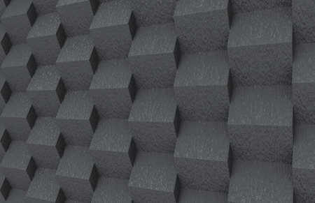 3d rendering. Abstract random dark stone square boxes stack wall design background.