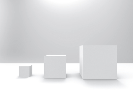 3d rendering. simple white square cube box from small to big row on gray background.
