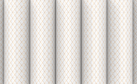 3d rendering. modern textured small golden sqaure grid pattern on cylinder wall design background. Stockfoto
