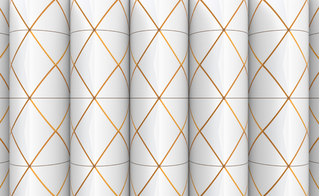 3d rendering. modern textured golden sqaure grid pattern on cylinder wall design background. Imagens - 124974512