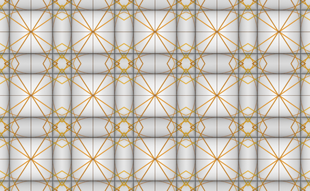 3d rendering. seamless modern golden line pattern square tile wall design background. Imagens - 124974513