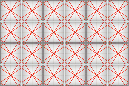 3d rendering. seamless modern red line pattern square tile wall design background. Stockfoto