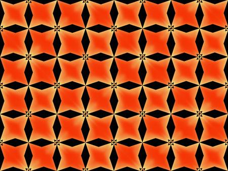 3d rendering. seamless modern black grid flower pattern on orange gradient color background.