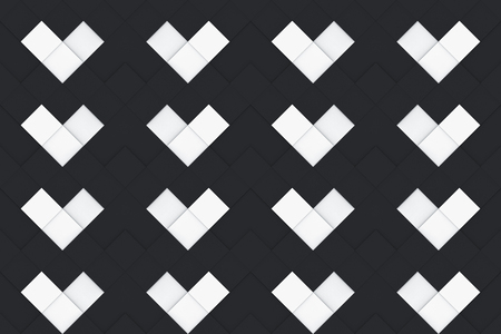 3d rendering. seamless modern random black and white square grid heart shape pattern design texture wall background. Stockfoto - 124974955