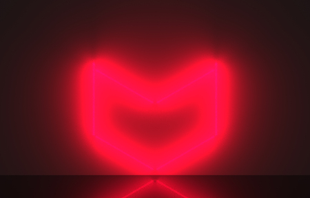 3d rendering. A red neon heart shape light design on dark wall background.