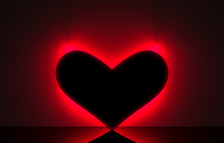 3d rendering. A empty black heart shape frame with red neon light design on dark wall background.