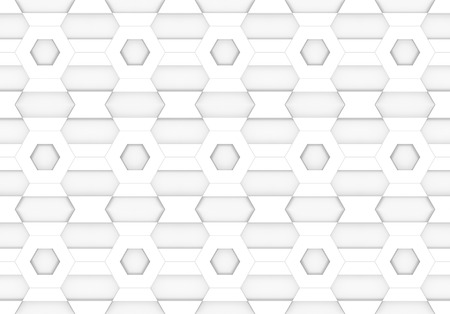 3d rendering. seamless white hexagonal and trapezoid shape pattern design wall background. Stockfoto