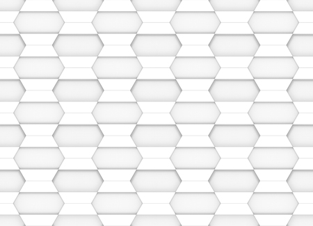 3d rendering. modern white trapezoid square tiles design wall background.