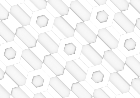 3d rendering. diagonal white hexagonal and trapezoid shape pattern design wall background. Stockfoto - 124932020