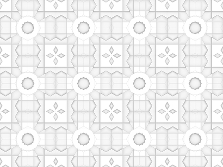 3d rendering. Seamless White square grid pattern art design wall background. Stockfoto