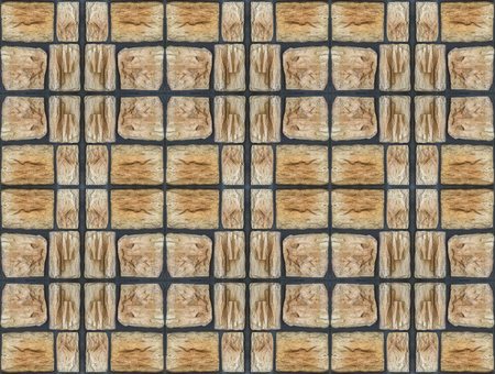 seamless brown stone brick tile wall design background.