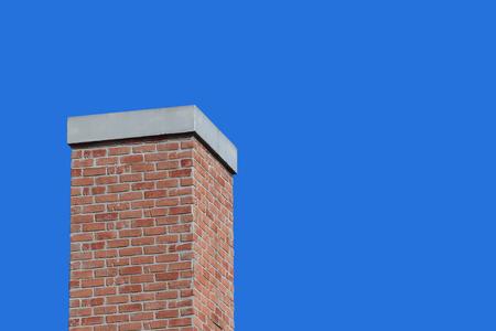 modern retro brick chimney design with blue sky background. Stockfoto - 124975031