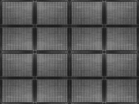 3d rendering. seamless dark metal sqaure grid pattern wall design background.