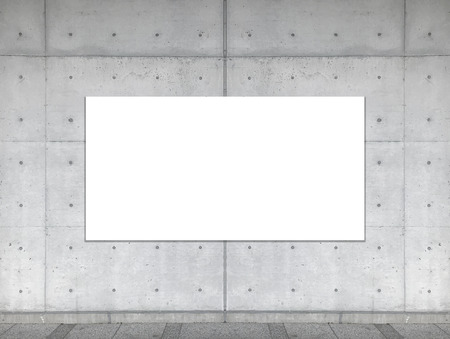 empty white mock up board on aged cement concrete wall background. Stockfoto