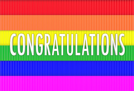 3d rendering. Congratulations word on Lgbt rainbow flag wall background.