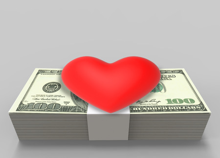 3d rendering. a red heart on US hundred dollar banknote stack on gray background. I love money concept.