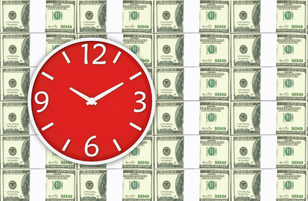 3d rendering. A red victory clock on US 100 dollar stacks background. business time is money or comparison concept.