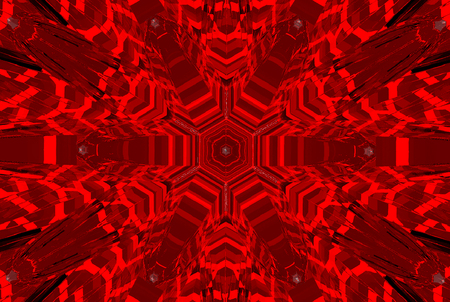 3d rendering. futuristic red reflection pattern desifn art mirror glass wall background.
