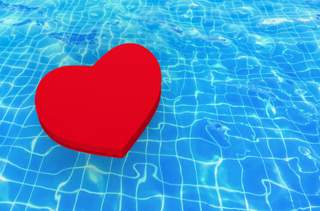3d rendering. A red heart floating on waving swimming pool surface background.