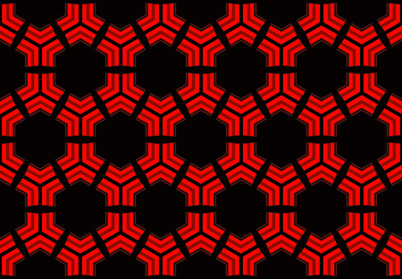 3d rendering. modern seamless red hexagon or hive honeycomb design pattern wall background. Banco de Imagens