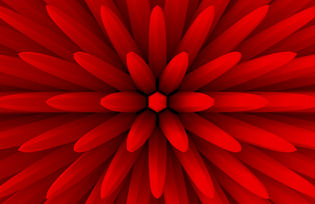 3d rendering. abstract red extrude geometry bar in blooming flower shape pattern wall design background. Stock Photo