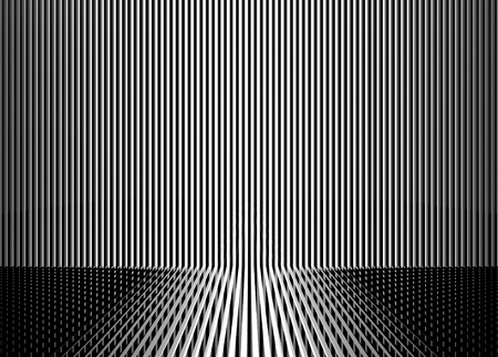 3d rendering. modern white and black parallel vertical bar pattern wall floor backgorund. Stock Photo