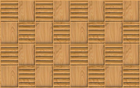 3d rendering. modern seamless brown wood square frame pattern design wall texture background.