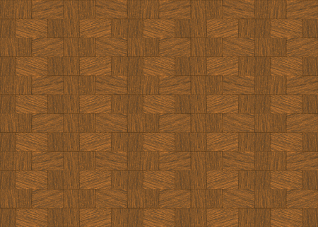3d rendering. retro seamless brown hardwood brick block shape pattern design wall background. Stockfoto - 124932111
