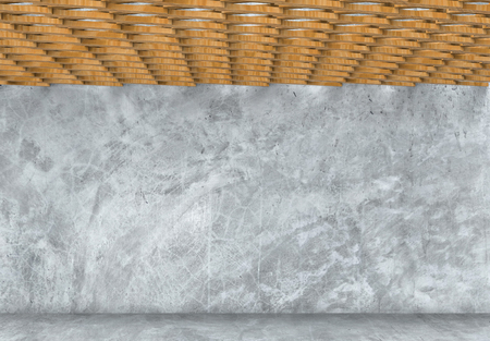 3d rendering. modern design of wood ceiling with rough cement wall background.