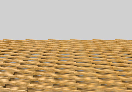 3d rendering. modern strip crossing wood panel design pattern floor wall background. Stockfoto - 124932115