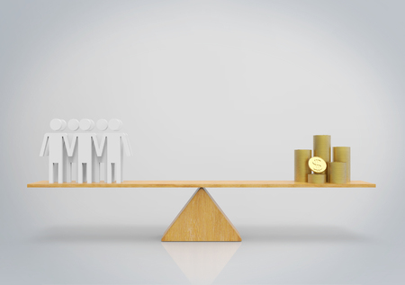 3d rendering. Group of golden coins stack and people on wood balance scale. Human resource value business concept. Stockfoto - 124932118