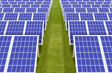 3d rendering. electric energy generator system, solar cells panels field farm industry on green grass land background.